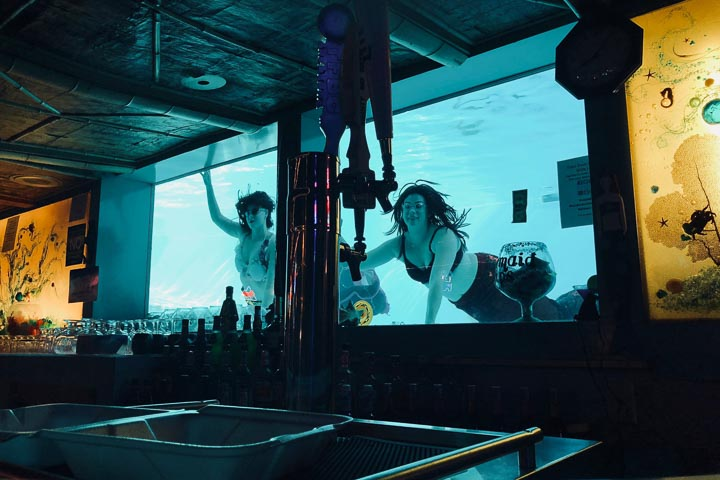 Two white women swimming behind a window behind a bar counter
