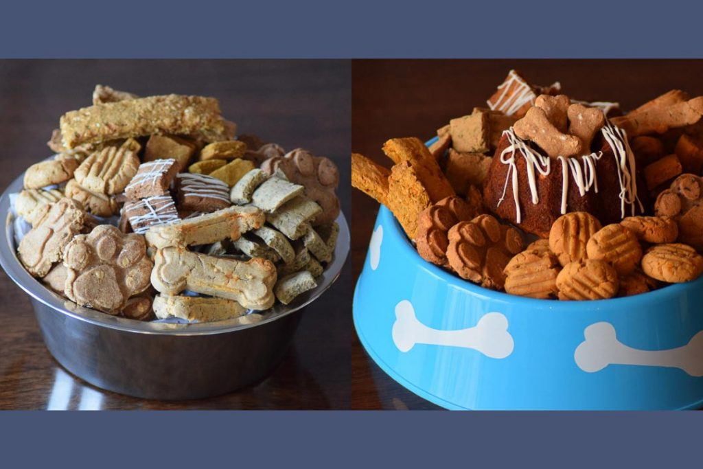 Two photos of dog treats piled in dog bowls.