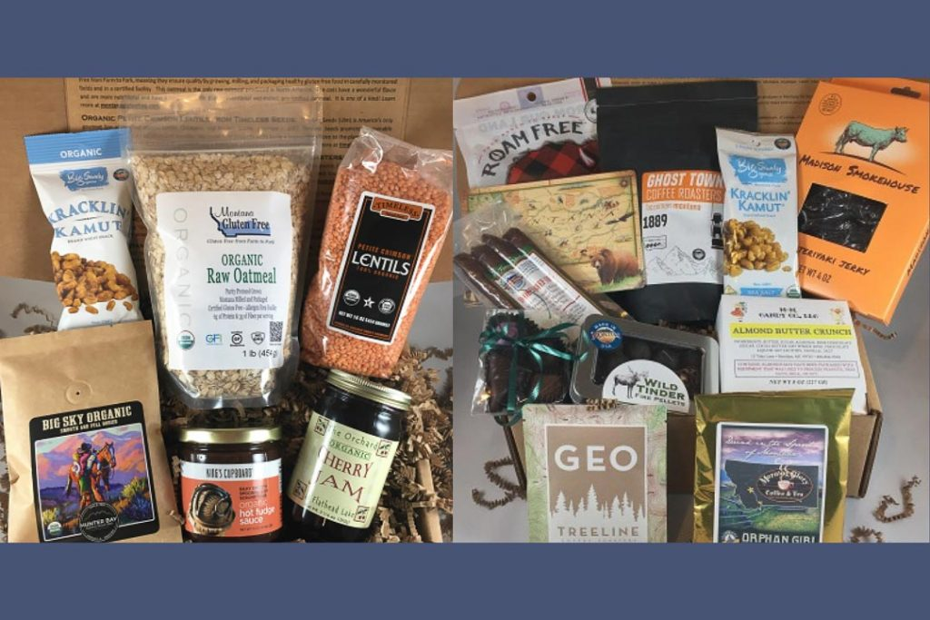 Two sets of gift basket items, including bags of lentils and oats, jars of jam, and granola bars.