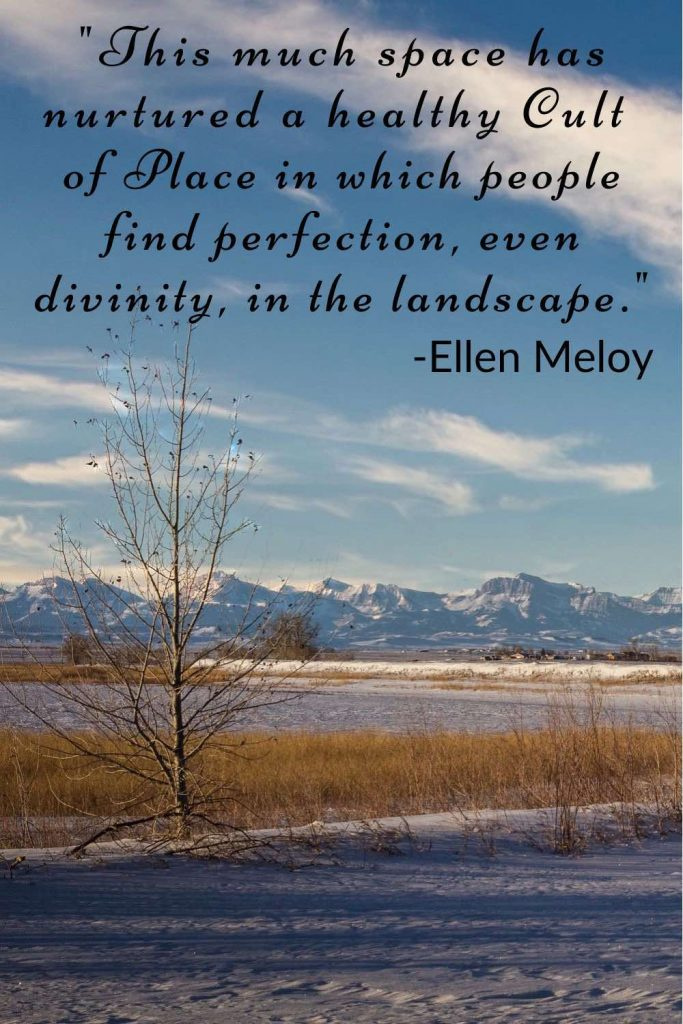 Leafless tree on a snow-covered prairie and tall mountains in the background with Ellen Meloy quote.