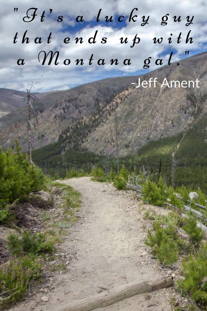 Hiking trail on a mountainside with Jeff Ament quote.