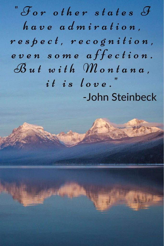 Snowcapped mountains reflected in a lake with John Steinbeck quote.