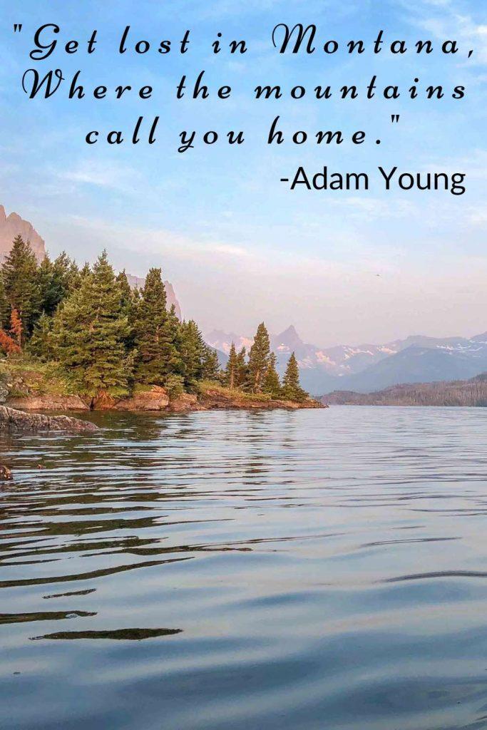 Placid alpine lake with Adam Young lyrics
