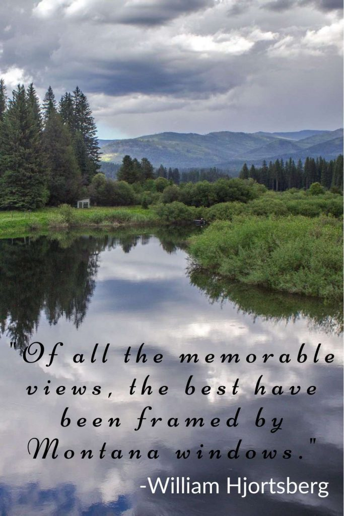 Tranquil river winding through a lush forest with William Hjortsberg quote.