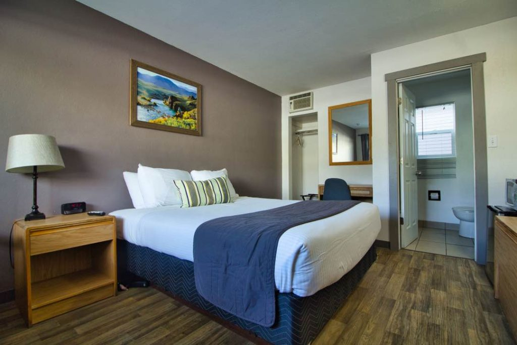 Hotel room with hardwood floor, bed, bedside table, small desk, and painting of a nature scene.