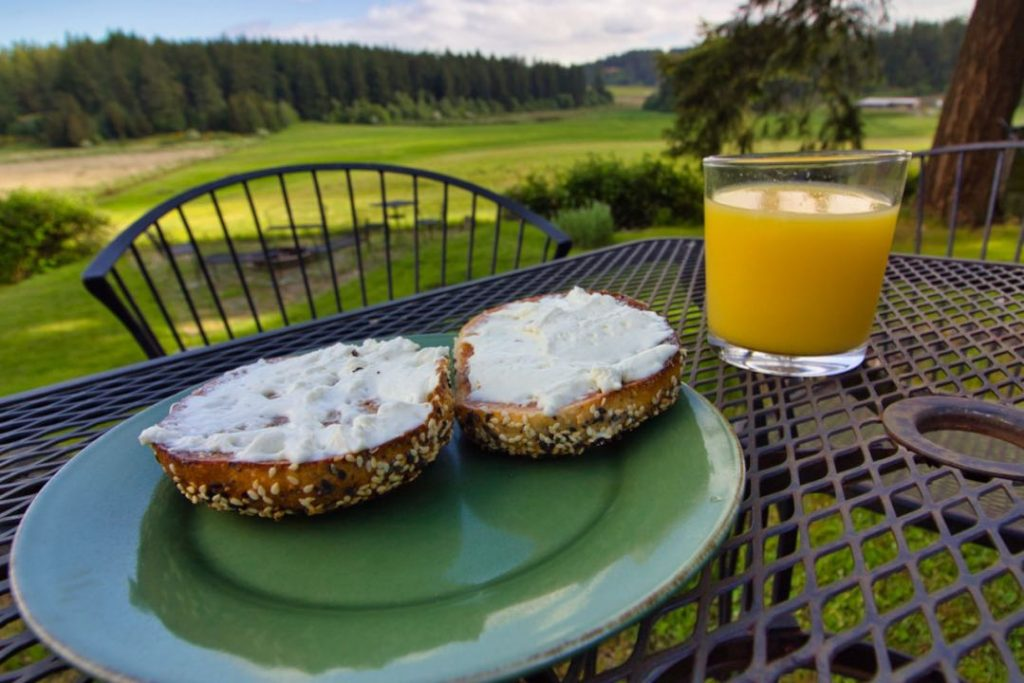 Two halves of a seed covered bagel covered in cream cheese sitting near a glass of orange juice on a wrought iron table overlooking a grassy field.